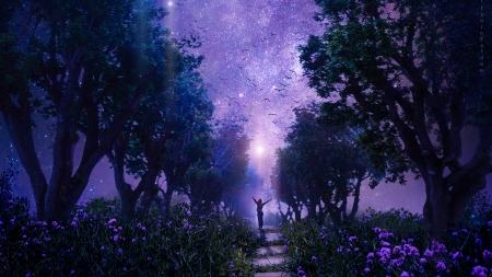 Starry night - forest, fantasy, luminos, tatyana haustova, silhouette, starry night, pink, blue, tree