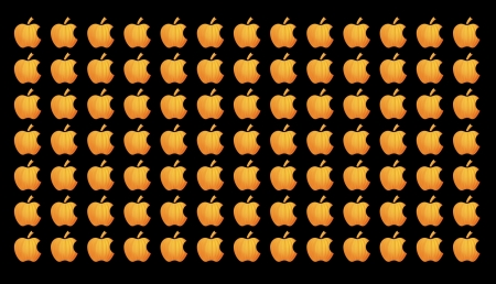 Autumn Mac Apple - bright, black, squared, tile, orange, frame, soft focus, cute, mac apple logo, texture, 3636x2088, stem