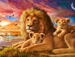 Lion And Baby Cubs Sunrise