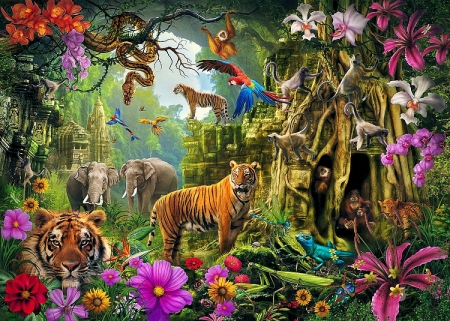 Jungle Temple - animals, elephants, tigers, flowers, painting, parrots, snake