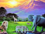 fields-dreams-clouds-zebras-grass-landscapes-seasons-plants-four-trees-pre-sunshine-sky-animals-giraffes-mountains-paintings