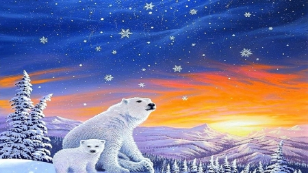 Bears Xmas Snow Four Winter Cool Beautiful White Polar Christmas Seasons Art Year Downloaded Family Love Lovely Paintings Nature Background Wallpapers On Desktop Nexus Image 2433563