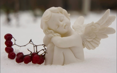 Winter angel in snow - snow, winter, angel, fantasy, gothic, berry