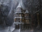 Winter mansion in the forest