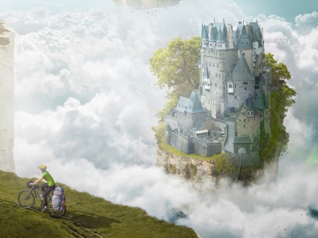 Castle - cloud, fantasy, luminos, bycicle, edge, man, castle, artur didyk, creative