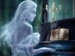 Ghost Woman Playing On The Piano