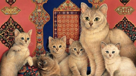 cats-animal-painting-pet-cat-artwork-catkin-feline-kittens-art-images-desktop - Familie, deutschland, Cats, Oransch, Gold