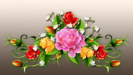 Roses & More - floral, Firefox theme, bouquet, flowers, babies breath, dew drops, roses