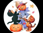Scarecrow Meets Black KItten And Tiger