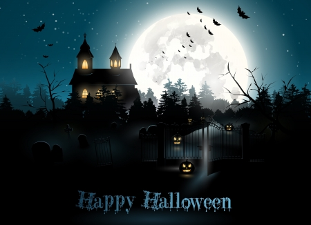 :-) - haunted house, pumpkin, halloween, white, card, blue, luna, luminos, moon, fantasy