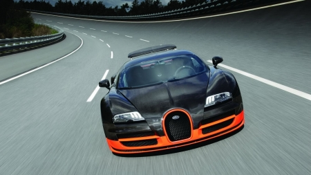 Bugatti Veyron Super Sport - bugatti, Bugatti Veyron Super Sport, cars, vehicle, front view, black cars