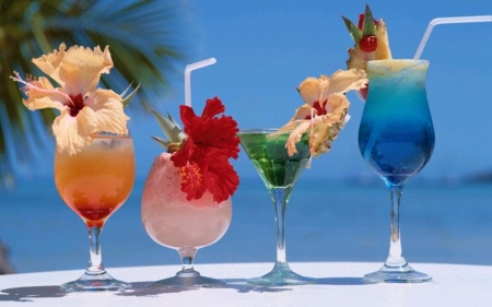 Cocktails - cocktails, sky, sea, hibiscus, glasses, summer