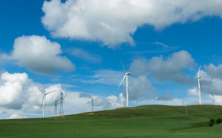 Field with Wind Turbines - turbines, clouds, sky, field