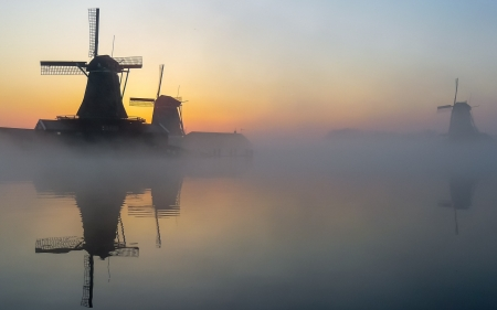 Windmills in Holland - water, Netherlands, Holland, windmills, mist