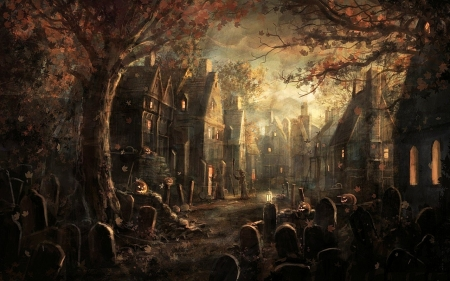 The Cemetery - halloween, town, houses, tombstones, dark, trees, night