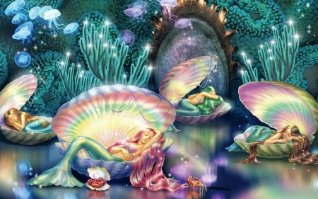 Sleeping Mermaids - mermaids, underwater, shells, sleeping