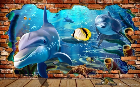 Dolphins Iin the Wall - wall, dolphins, animals, art, mural, puzzle
