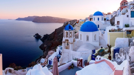 Three Blue Domes of Santorini - santorini, domes, famous, HD, white, blue, sea, greece, vacation, photography