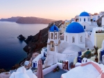 Three Blue Domes of Santorini