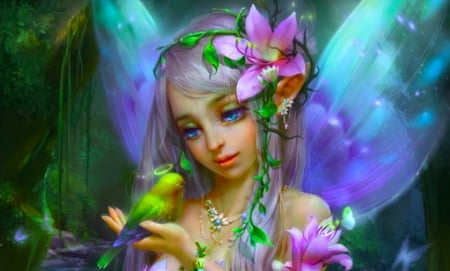 Lovely Bird Fairy - pretty, art, fantasy, girl, bird, digital, woman, fairy, wallpaper