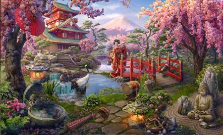 Hidden city japanese garden flowers nature background for Koi pond quezon city