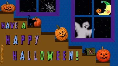 Halloween Characters :D - kitty, stairs, Jack o Lantern, cobweb, moon, spiderweb, ghost, pumpkin, stairway, kitties, trickortreat, cats, pumpkins, trick or treat, spook, Ha11oween, stars, window, windows
