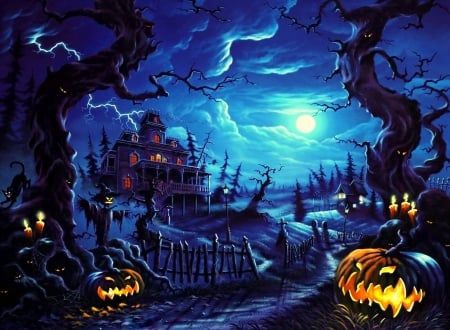 Fright Night of Halloween - moons, fall season, autumn, holiday, haunted house, October 31, halloween, love four seasons, fantasy, paintings, spooky, night, pumpkins, jack-o-lanterns
