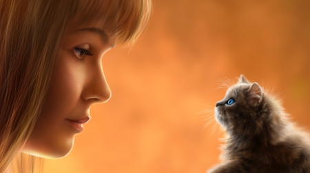 Face to face - orange, luminos, girl, face, pisici, kitten, alenaekaterinburg, cat, elena roslyakova, fantasy