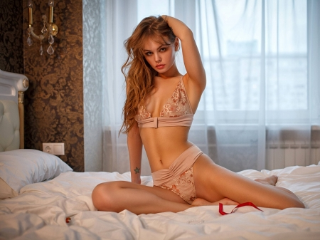 Anastasia Shcheglova - wallpaper, beautiful, Russian, 2018, Anastasia Shcheglova, Anastasia, model, lingerie, sexy, bed, Shcheglova