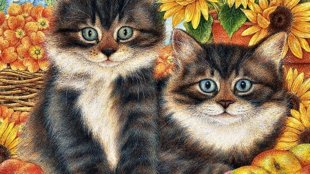 Cats Artwork Pair Painting Cat Sunflower Sunflowers Art Feline