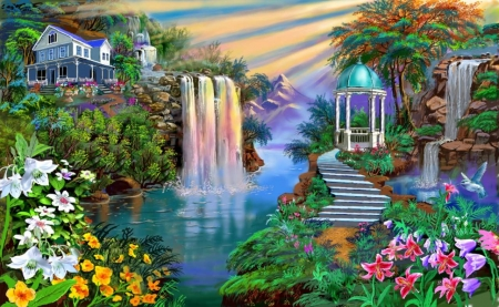 Beautiful garden - gardens, flowers, nature, falls, beautiful, water, arches, cupola, fantasy, painting