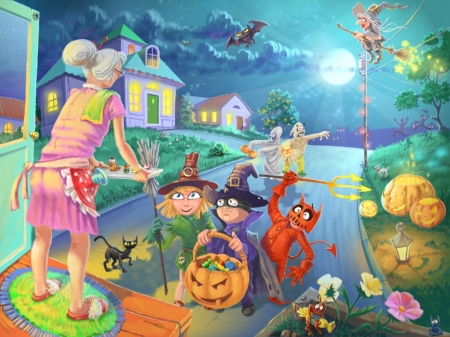 Childern Trick or Treating - trick, costumes, house, childern, treats