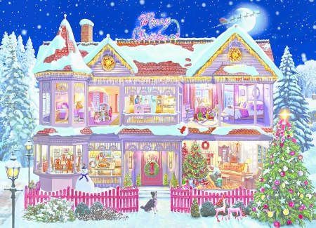 Interior  of the House - colors, house, puzzle, interor, christmas