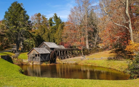 Mabry's Mill - pond, autumn, watermill, trees, USA