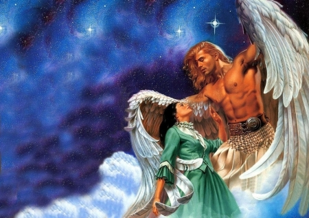 Guardian angel - art, fantasy, wings, girl, rowena morrill, angel, man, couple, luminos