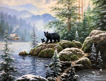 Winter Adventure - snow, painting, bears, pup, cabin, lake, artwork, rocks, trees, mountains