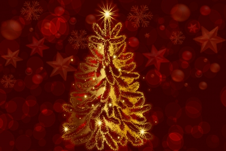 Golden Christmas Tree - Christmas, Red, Tree, Gold, Festive