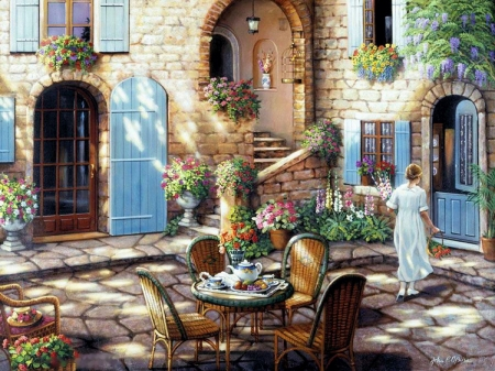 Tea Time at The Courtyard - girl, table, house, chairs, flowers, painting, porcelain
