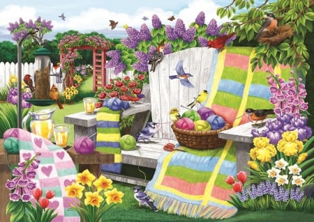 The Many Colors of Spring - flowers, colors, puzzle, spring, quilt