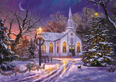 The Old Christmas Church - puzzle, christmas, old, church
