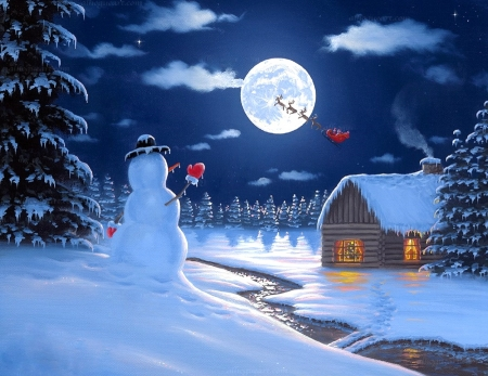 Christmas Moonlight - snowman, winter, Christmas, moons, villages, sleigh, cottages, white trees, love four seasons, xmas and new year, paintings, snow