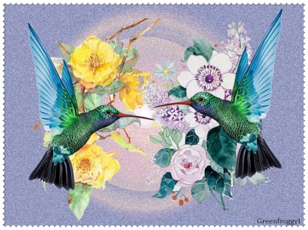 HUMMINGBIRDS AND FLOWERS - ART, FLOWERS, HUMMINGBIRDS, ABSTRACT