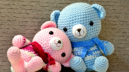 Teddy bears - pink and blue, cute, cuddle, 1920x1080