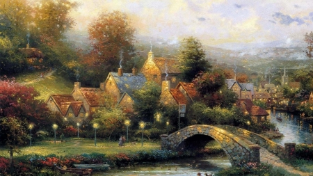 village - painting, village, autumn, bridge