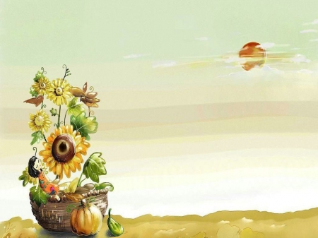 Autumn - Cartoon style, Flower basket, Sunflower, Sun