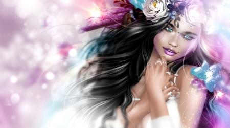 Girl - blue, brunette, fantasy, girl, luminos, rendering, pink