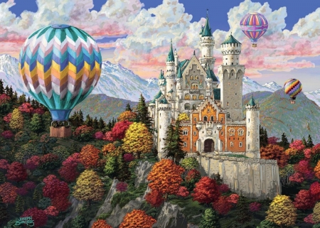 Neuschwanstein Castle - germany, mountains, balloons, clouds, sky, trees, alps, autumn, artwork, painting