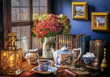 Tea Time - vase, flowers, painting, can, artwork, porcelain, cups, table, window, books