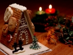 Christmas Gingerbread Houses and Candles