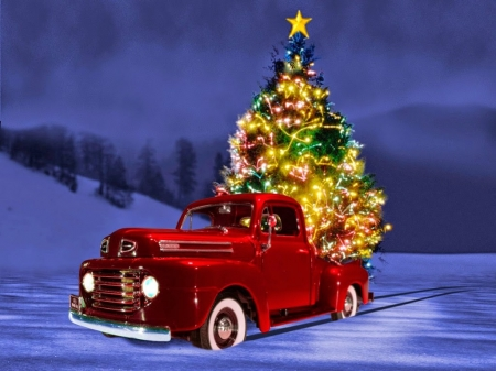 christmas truck - tree, truck, snow, christmas